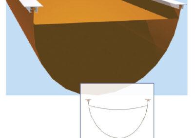 Textil légtömlő D-alakú, T-sínes felfüggesztése (11-es típus)