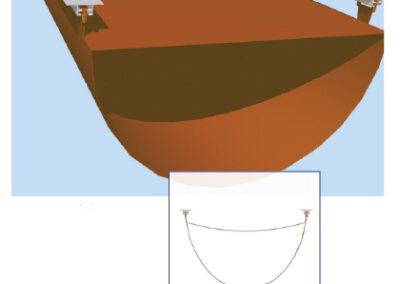 Textil légtömlő D-alakú, T-sínes felfüggesztése (12-es típus)