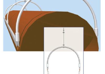 Textil légtömlő két H-sínes felfüggesztése (13-as típus)