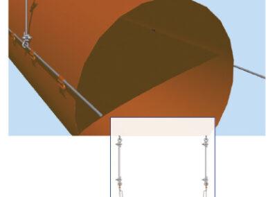 Textil légtömlő kéthuzalos felfüggesztése (2-es típus)