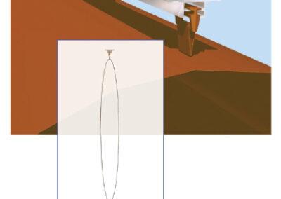 Textil légtömlő egy T-sínes felfüggesztése (3-as típus)