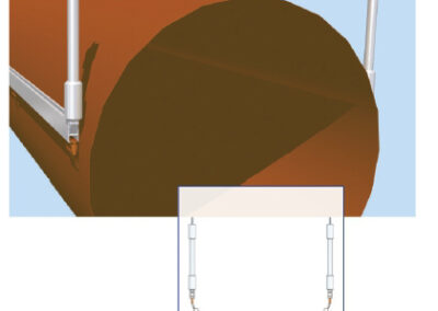 Textil légtömlő két H-sínes felfüggesztése (6-os típus)